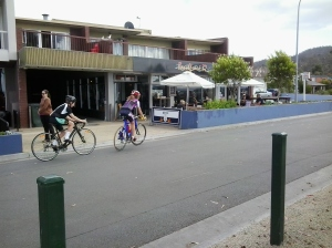 shops and cyclists